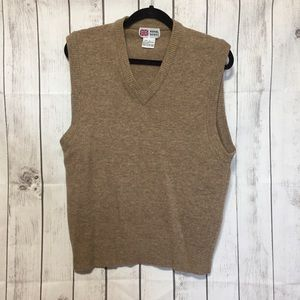 Royal Scott Wool Sweater Vest Mens L Tan V-Neck